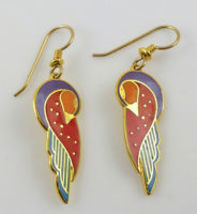 "Laurel Burch ""KUCHULU"" Gold-Tone Drop Dangle Bird EARRINGS - Red Purple ... - $25.00"