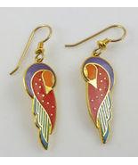"""Laurel Burch """"KUCHULU"""" Gold-Tone Drop Dangle Bird EARRINGS - Red Purple ... - $25.00"""