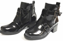 Qupid SUMPTUOUS Black Leather Buckle Ankle Boots - Roster 11 - SIZE 6.5 - $27.71