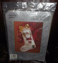 """NEW VINTAGE 1991 COUNTED CROSS STITCH MERRY CHRISTMAS SANTA 17"""" STOCKING... - $70.18"""