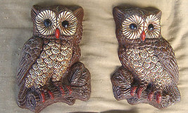 Pair of Resin Foam Wall Mount Decor Hanging Owls Birds  - $15.18