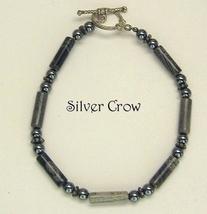 Silver Leaf, Hematite & Sterling Silver Bracelet Gray - $17.99