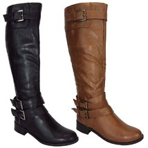 Soda DORIC-S New Womens Knee-High Buckle Riding Boots Faux Leather Shoes - $30.00