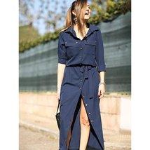 Split-to-thigh Vintage V-neck Shirt Dress - $44.00