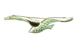 Vintage Bird Brooch Pin Costume Jewelry Green In Flight - $12.86