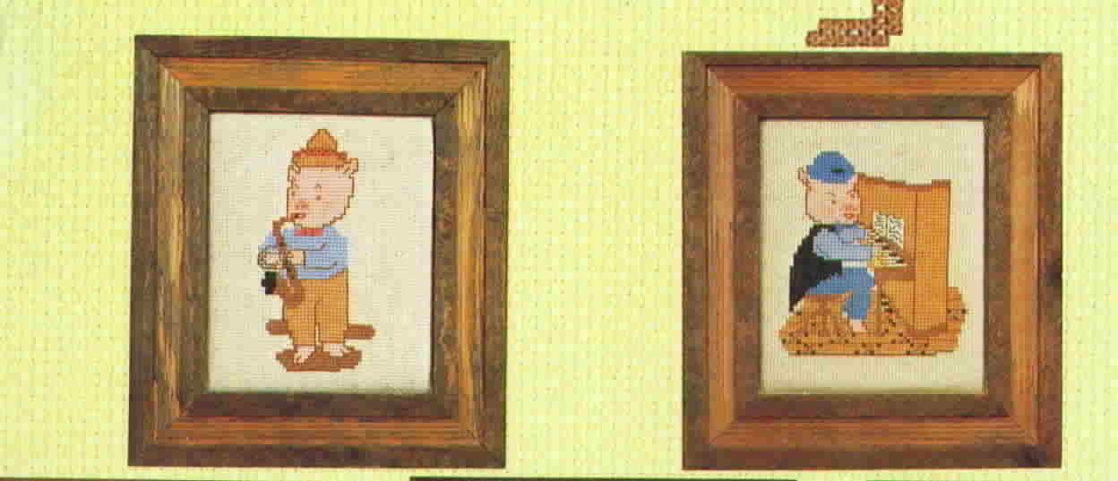 Vintage M. R .Pigs by Ms Piggie Cross Stitch Patterns Aggie J Originals