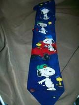 P EAN Uts Charles Schulz Silk Tie Necktie Snoopy Woodstock Joe Golfer Golf - $14.84