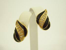 NAPIER BLACK Enamel Rhinestones Gold Plate Teardrop PIERCED Earrings Vin... - $17.81