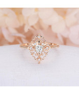 [Jewelry] Vintage Flower Pattern 18k Gold Plated Sapphire Ring for Woman... - $167,44 MXN