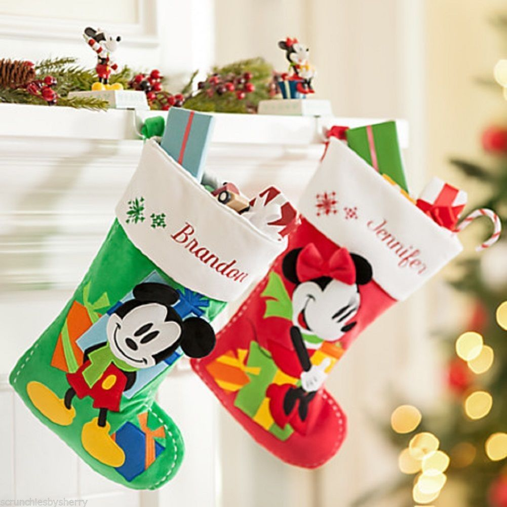 Primary image for Disney Store Minnie or Mickey Mouse Christmas Stocking Red Green 2015 New