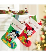 Disney Store Minnie or Mickey Mouse Christmas Stocking Red Green 2015 New - $66.44