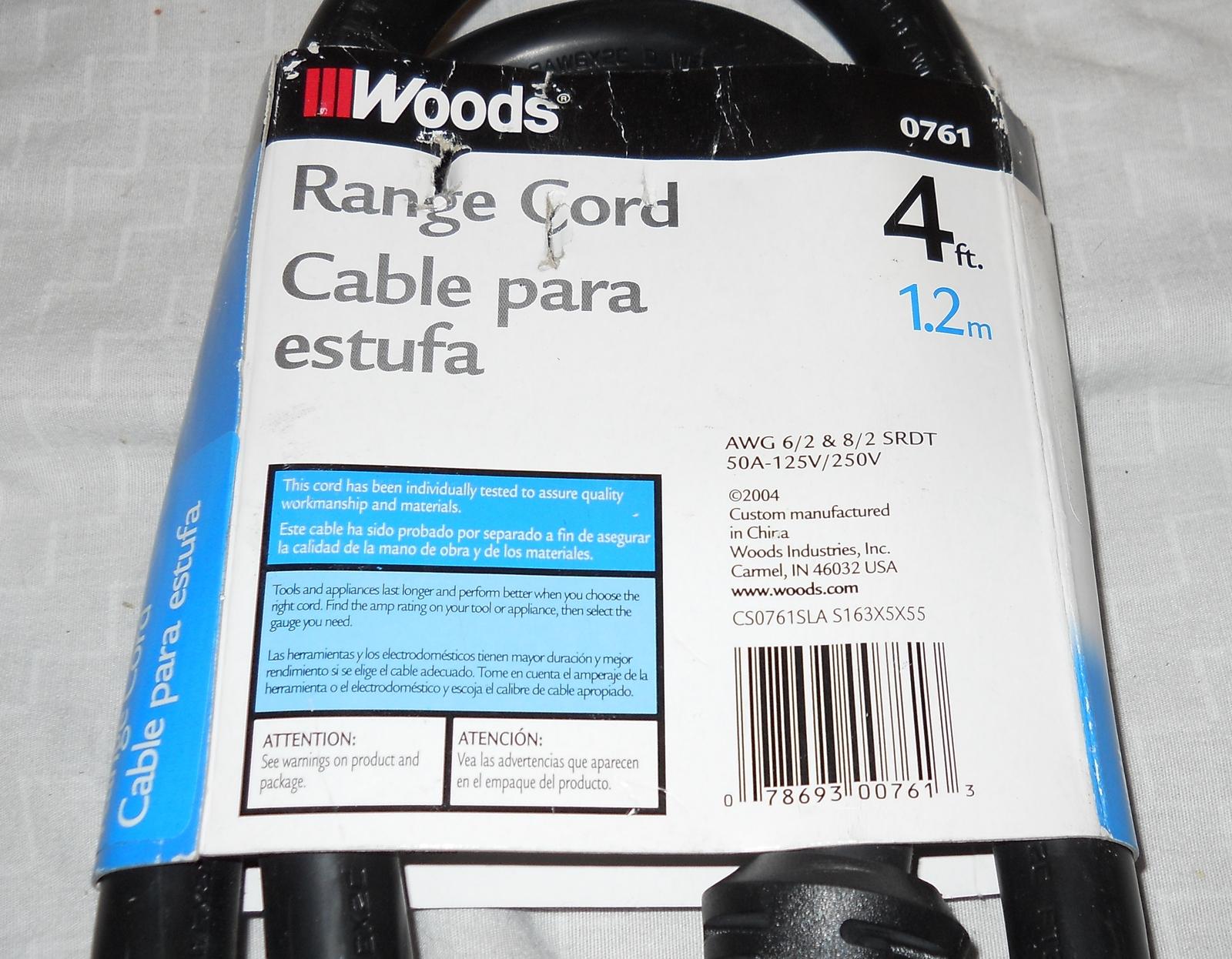 Woods 0761 6/2 - 8/2 SRDT 50-Amp Range Appliance HEAVY Power Supply Cord, 4-Feet image 3