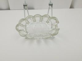 "Glass Bowl Lead 24% Crystal Spoon Rest Princess Candy Nut Dish Poland 5""... - $18.60"