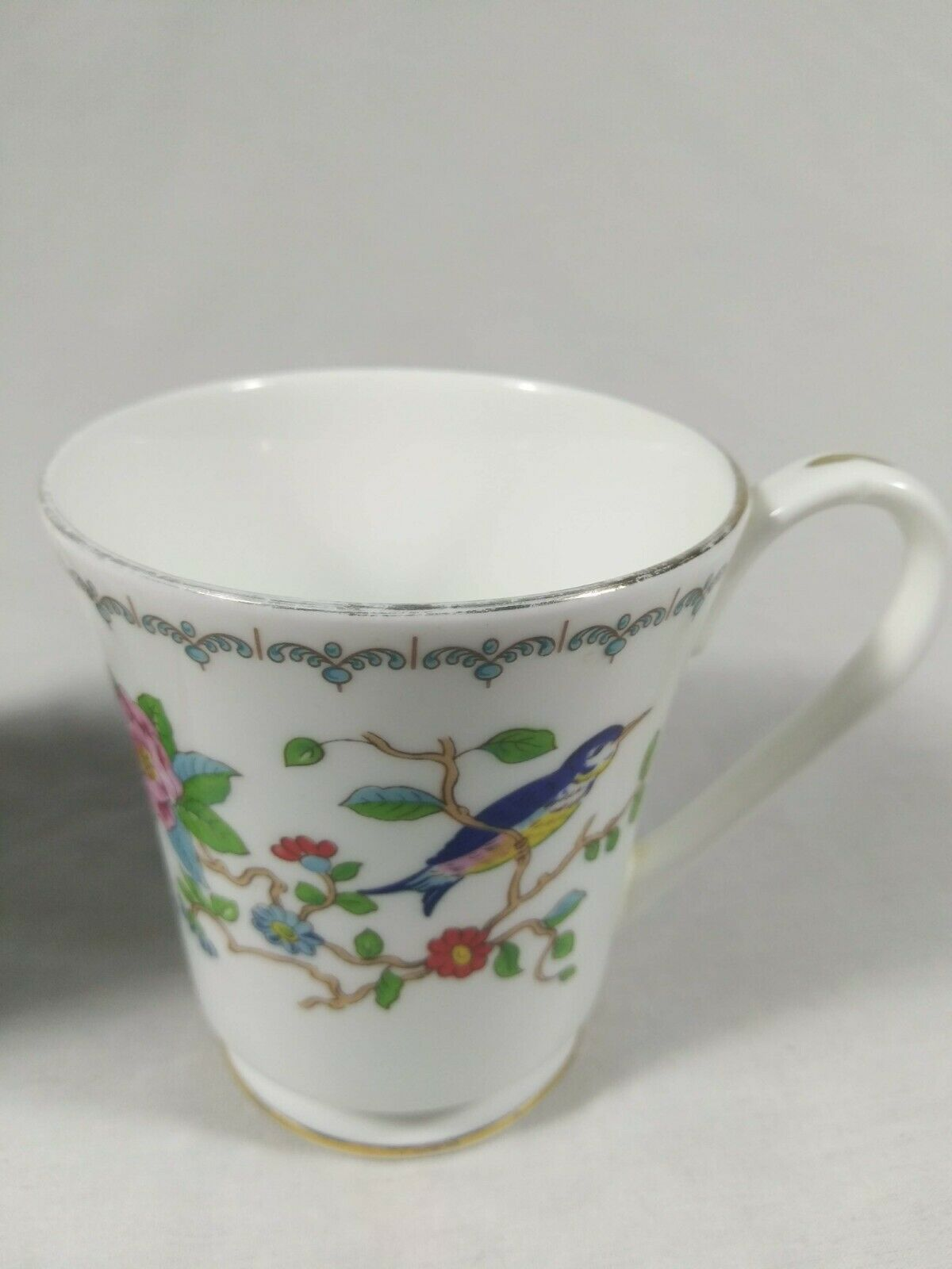 Aynsley Pembroke Tea Cups Fine English Bone China Birds Floral Set of 2 Mugs image 3