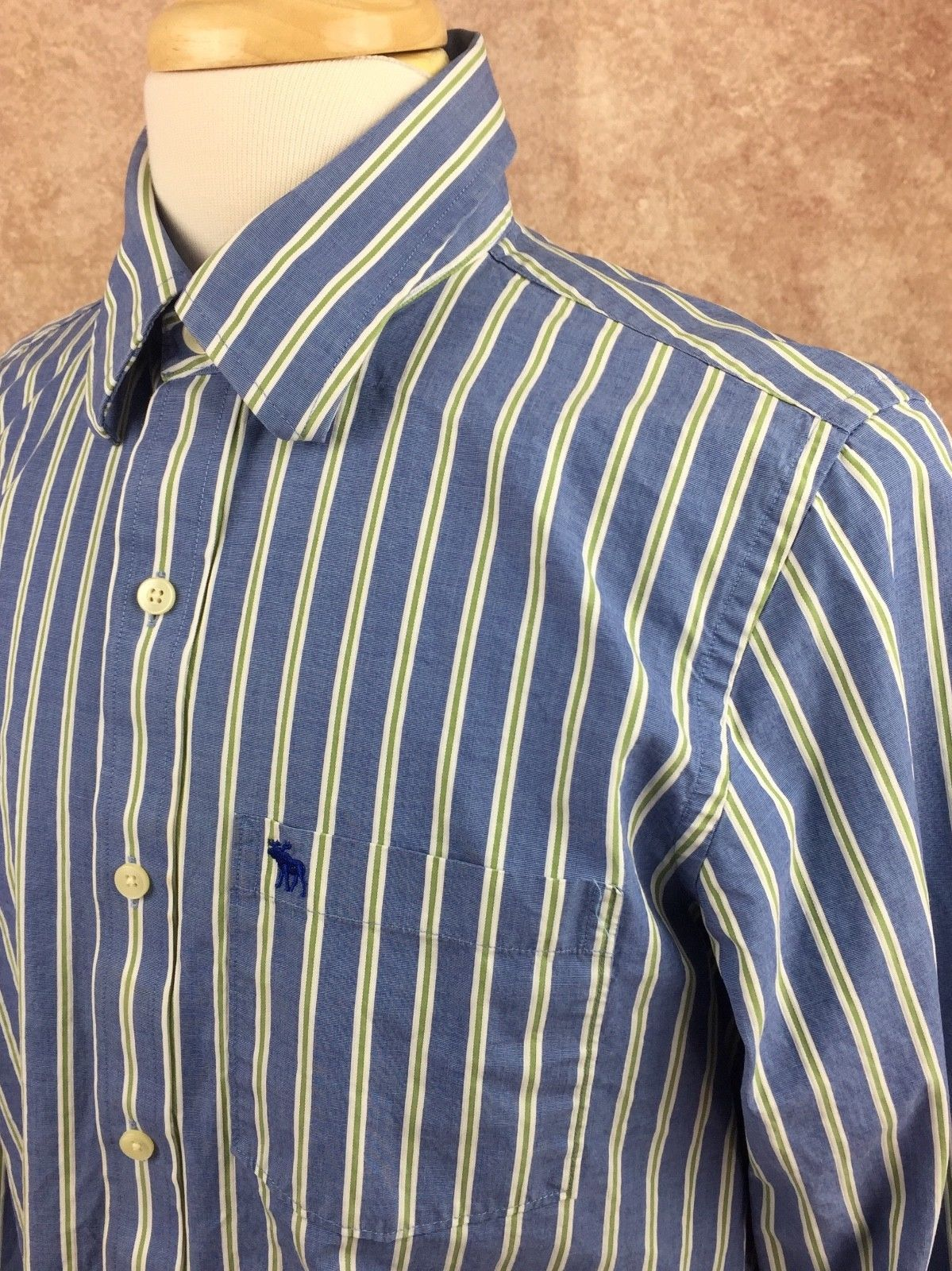 Abercrombie & Fitch Muscle Long Sleeve Button Down Shirt Blue Stripe Men's Large image 2