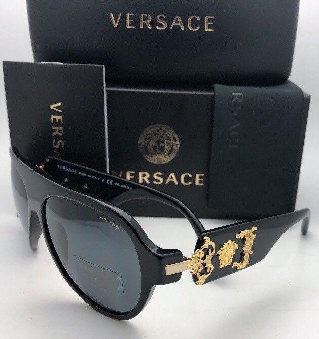 a783b8297d Polarized VERSACE Sunglasses VE 4323 GB1 81 58-15 140 Black-Gold Frame