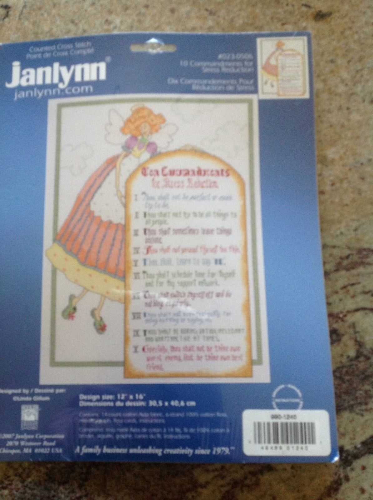 "Janlynn Counted Cross Stitch Kit ""10 Commandments for Stress Reduction""  12""X16"""