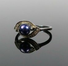 Vintage .925 Sterling Silver Signed NVC Purple Bead Pave Size 7.75 Ring ... - $21.93