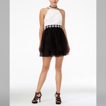NEW Trixxi Women's Black White Rosette Tulle Mini Dress Juniors Size 5 S... - $39.25