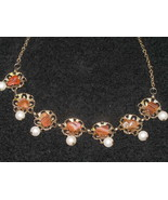Vintage Stone Chip Faux Pearl Drop Filigree Necklace - $9.49