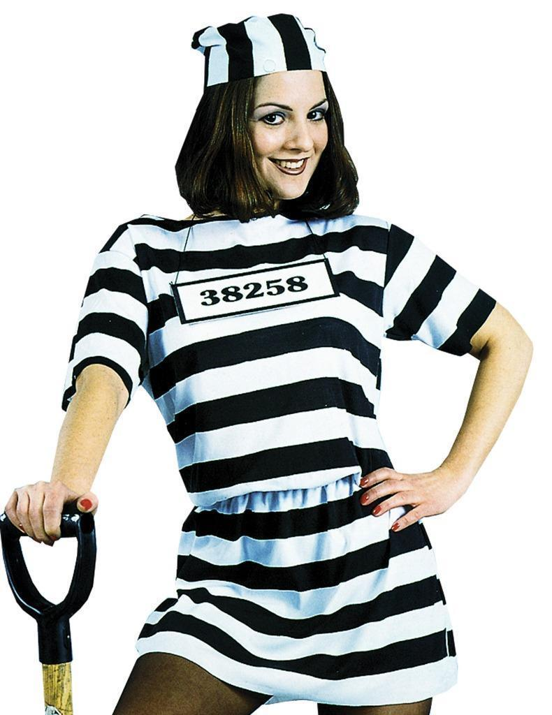 Convict Womens Costume Adult Prisoner Dress Black White Stripe Halloween AC302