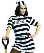 Convict Womens Costume Adult Prisoner Dress Black White Stripe Halloween... - $39.99