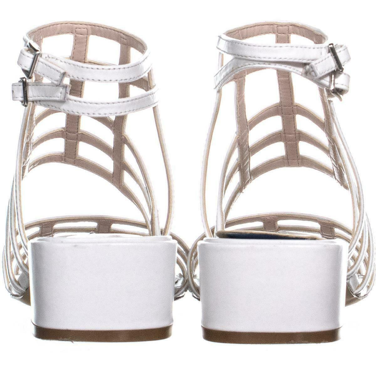 Nine West Xerxes Caged Block Heel Sandals 655, White, 5.5 US