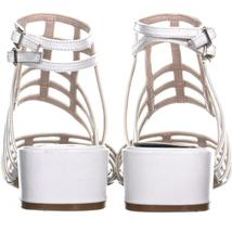 Nine West Xerxes Caged Block Heel Sandals 655, White, 5.5 US image 3