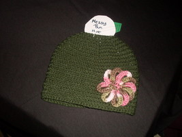 Hand Crocheted Green Messy Bun Hat With Pink Camo Flower - $15.00