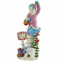 Lenox Snowy Sweetheart Valentine Pencil Snowman Figurine Woman Christmas NEW - $80.19