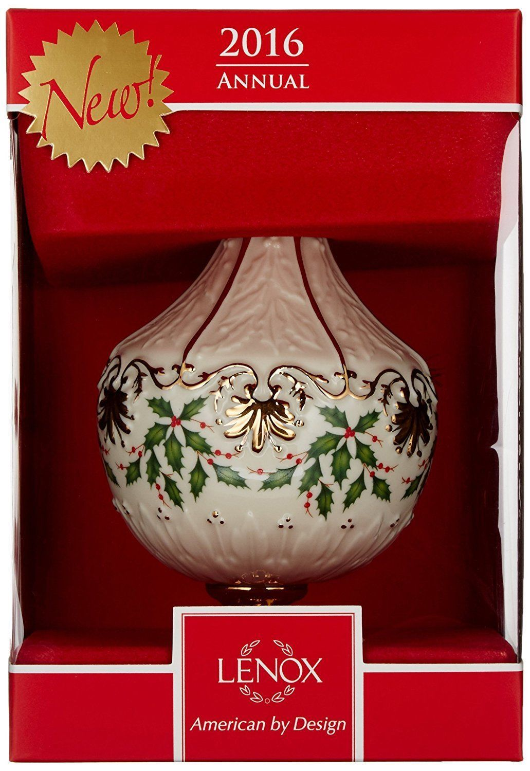 Lenox Christmas 2016 Holiday Ornament Annual Holly Berry Motif NEW IN BOX