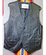 Vichen USA Mens Black Genuine Leather Biker Motorcycle Dress VEST Sz Medium - $45.00