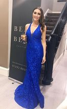 elegant halter mermaid prom dresses, fashion royal blue lace prom dresses - $189.00