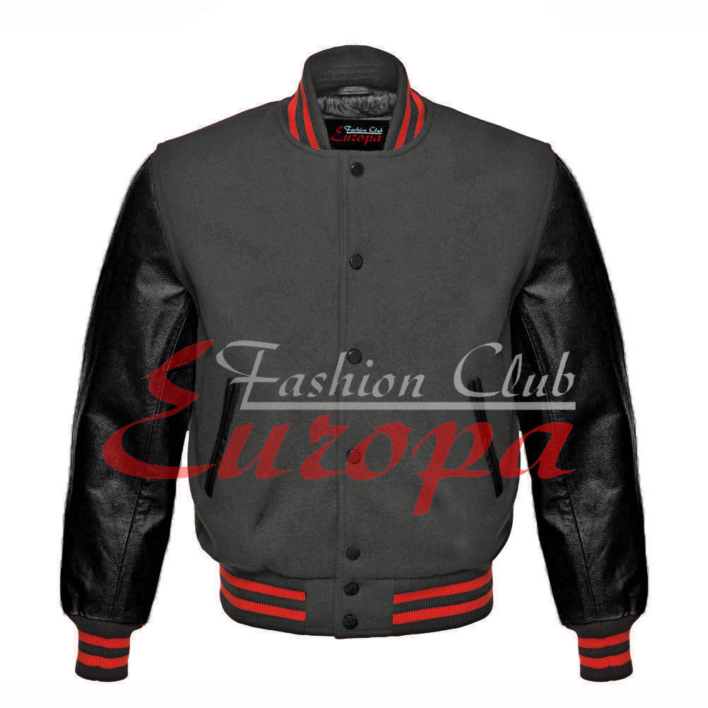 Primary image for American Unisex Black Real Leather Sleeve Letterman College Varsity Wool Jacket