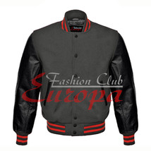 American Unisex Black Real Leather Sleeve Letterman College Varsity Wool... - $86.13+