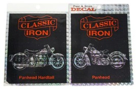 LOT Of 2 VTG 90s CLASSIC IRON Prismatic STICKERS Panhead Motorcycle Bike... - $18.69