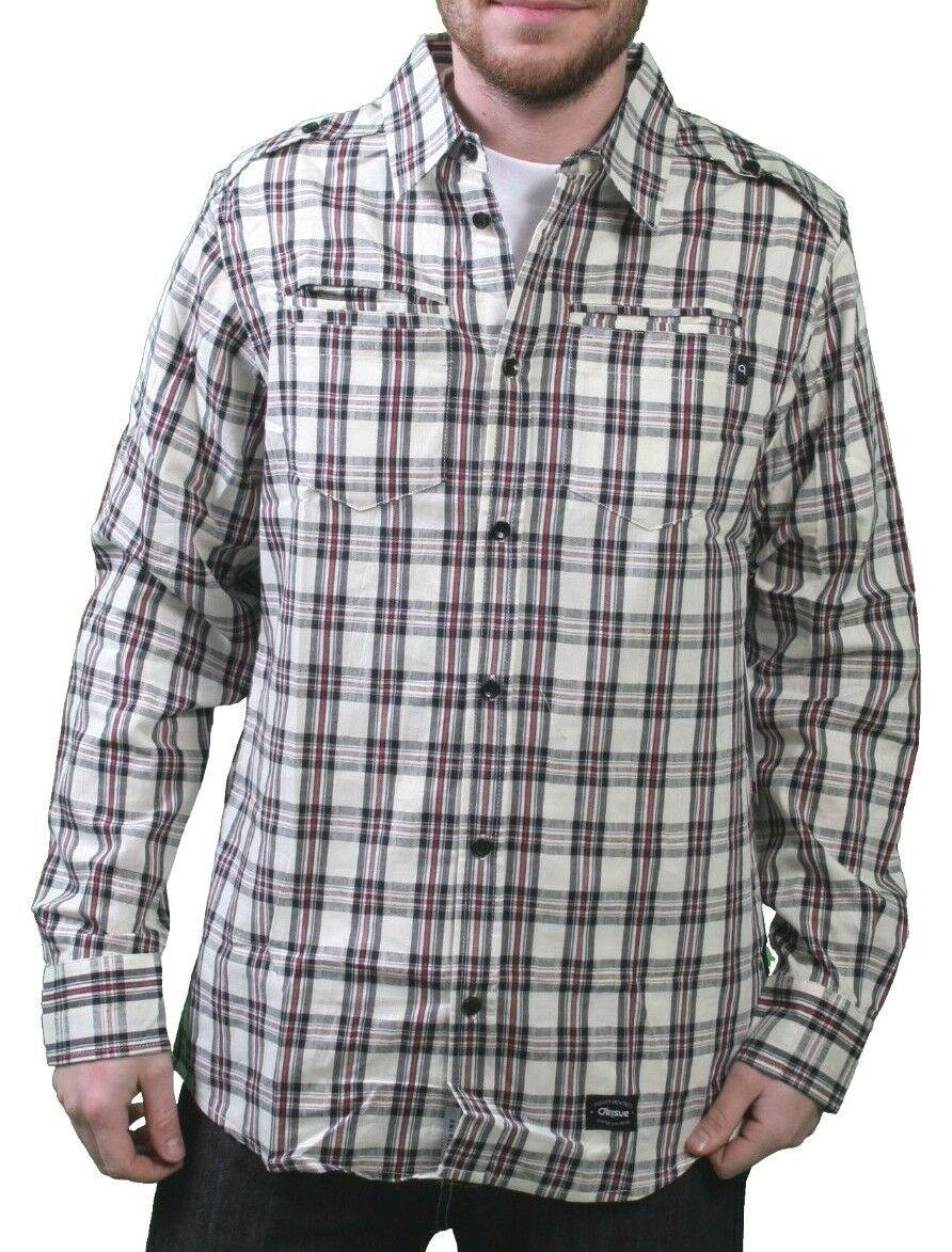 Orisue Charleston Cream Long Sleeve Woven Cotton Button Up Down Plaid Shirt NWT