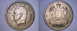 1945 Monaco 1 Franc World Coin - $19.99