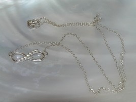 Estate Dainty 925 Marked Silver Chain with Clear Rhinestone Infinity Pen... - $12.19