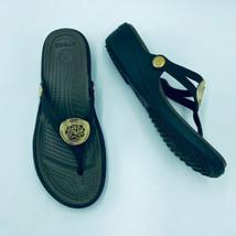 Crocs 6 Sandals Slip On Wedge Brown Gold Medallion Light Weight Career O... - $19.99