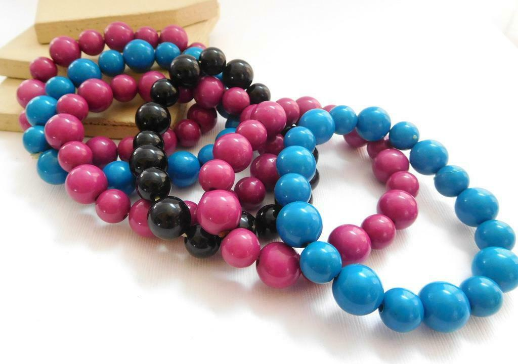 Retro 80s Blue Pink Black Bead Stretch Bangle Bracelet Layering Stack Set WW11