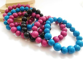 Retro 80s Blue Pink Black Bead Stretch Bangle Bracelet Layering Stack Se... - $16.99