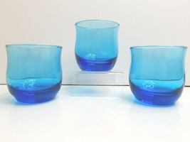 "3 Anchor Hocking Flair Blue Laser MCM 3"" Old Fashioned Retro Bar Glass T... - $29.37"
