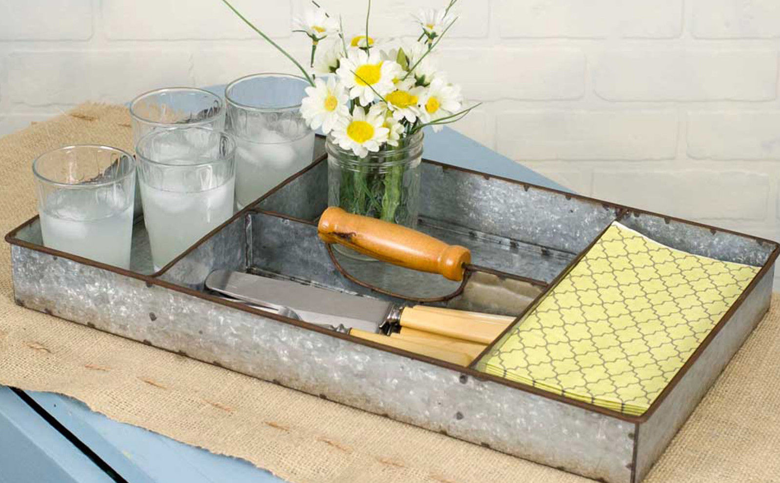 Galvanized Metal Divided Tray 4 Compartments Storage Display Server Barbecue