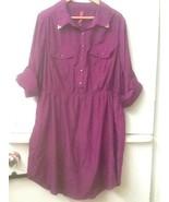 Pure Energy Dress Women's Plus Size 2 Purple Shirt Dress Roll Up Sleeves - $16.95
