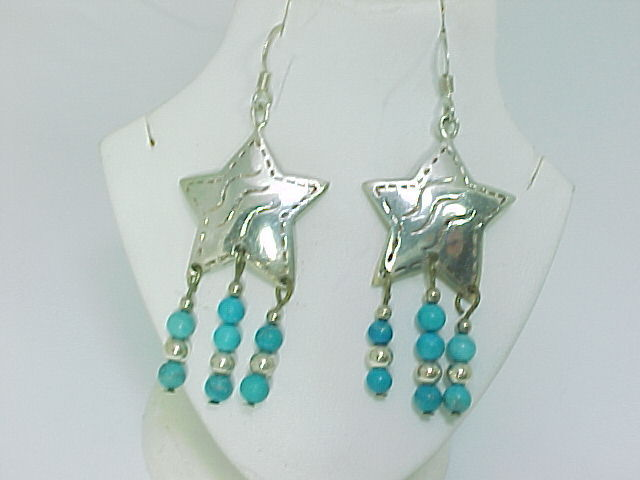 Primary image for STERLING STAR EARRINGS with TURQUOISE DANGLES - 2 1/4 inches long -FREE SHIPPING