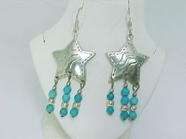 STERLING STAR EARRINGS with TURQUOISE DANGLES - 2 1/4 inches long -FREE ... - $55.00