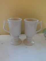 Hall China/USA/Pedestal Cup/Irish Coffee Mug/Creamy White #1272 lot of 2 - $22.44