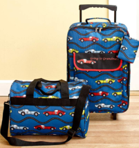 Kids Luggage Set Tote Bags Travel Blue Cars Rolling Going to Grandma's 3 PC - $41.57
