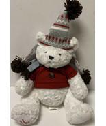 Dennis Basso White Soft Plush Teddy Bear With Winter Knit Hat & Scarf Ho... - $25.99